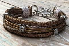Hundehalsband-mit-Zugstoppkette-Leder-Mix-in-Gold-Perlmutt-1