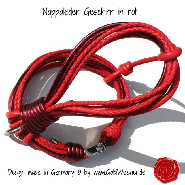 Hunde Geschirr Nappaleder in rot