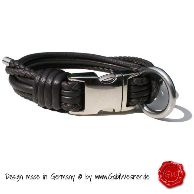 Lederhalsband 4-reihig für kleine Hunde