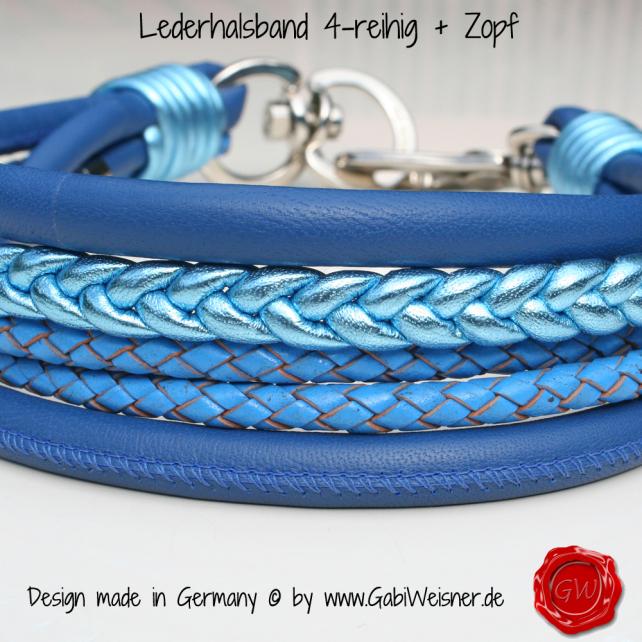 Lederhalsband 4-reihig + Zopf in Blau