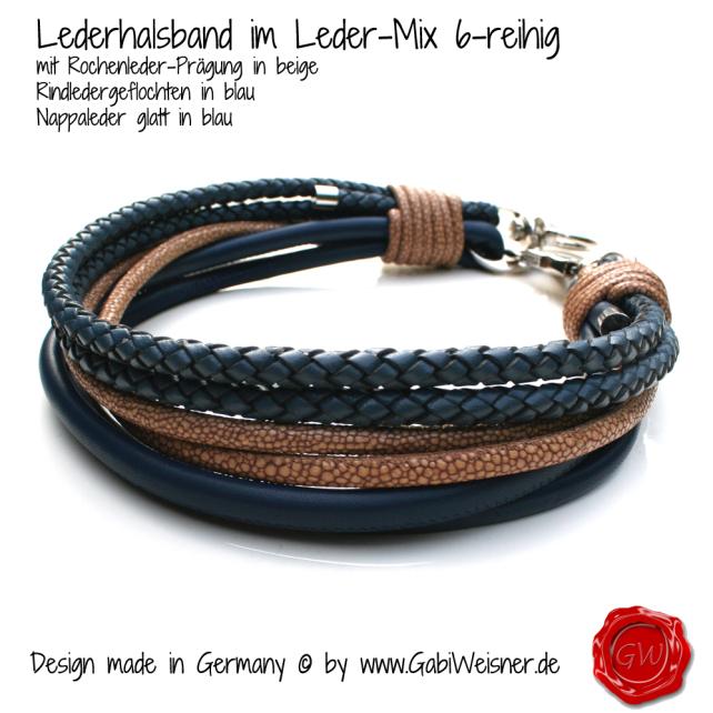 Hundehalsband mit 6 dicken Reihen im Ledermix