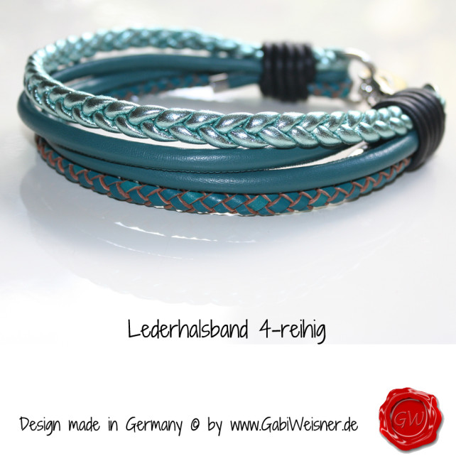 Lederhalsband in Petrolfarben