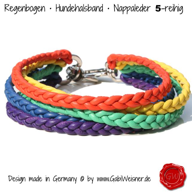 Regenbogen Halsband Nappaleder 5-reihig