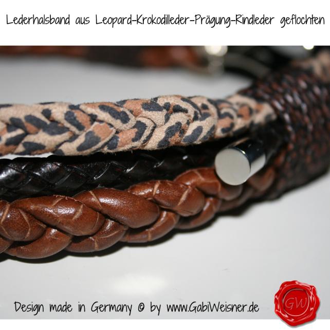 Lederhalsband 3-reihig