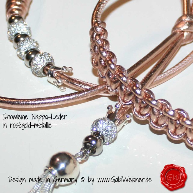 Showleine aus Nappa-Leder in roségold-metallic