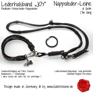 Hundehalsband-Lederhalsband-Joy-SET
