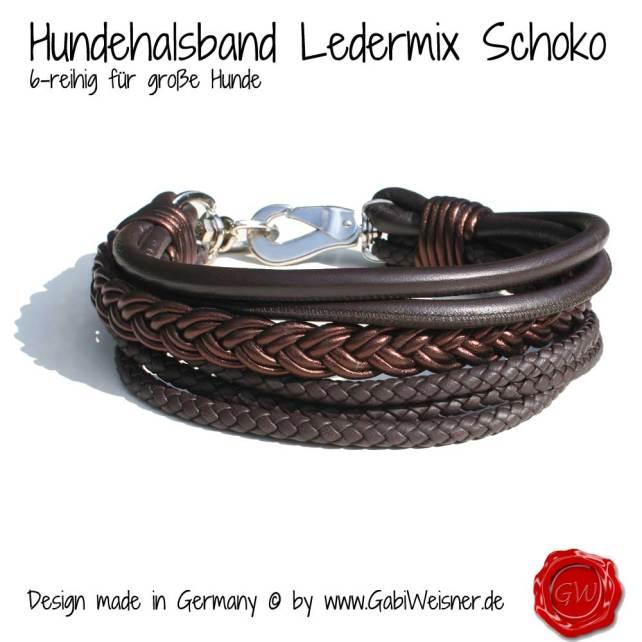 Hundehalsband Leder Ledermix in Schokobraun