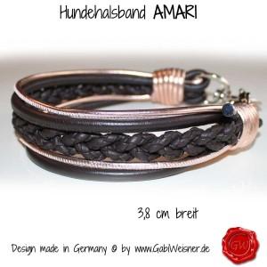 Hundehalsband-Ledermix-AMARI-braun-rosegold-1