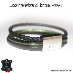 Lederarmband-braun-olive-