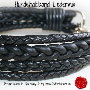 Hundehalsband-Lederhalsband-Ledermix-Schwarz