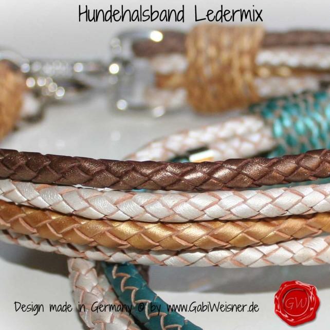 Hundehalsband Ledermix metallic geflochten