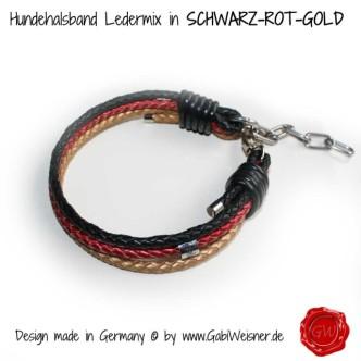 Hundehalsband in Schwarz Rot Gold