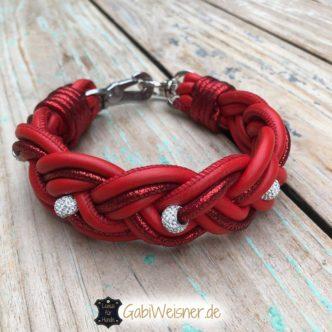 Hundehalsband Leder in Rot mit Strass und Glitzerleder