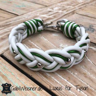 Hundehalsband Leder in Weiß mit Grün-metallic breit geflochten
