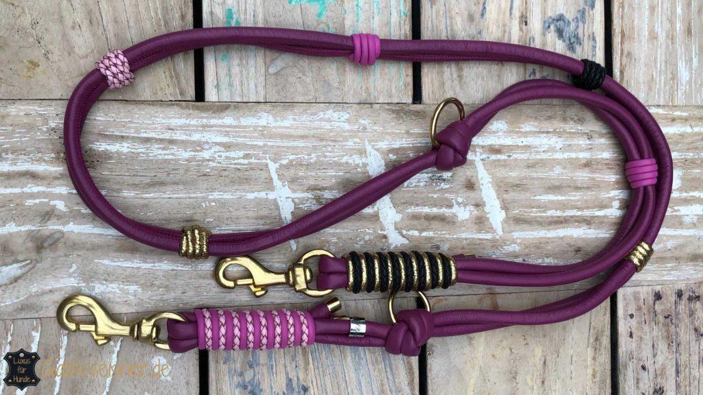 Mein Hundehalsband SOMMER SET in den Farben Beere, Rosa, Schwarz und Gold.