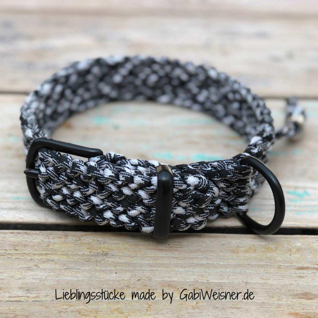 Hundehalsband mit Hahnentritt-Muster in Schwarz-Weiß