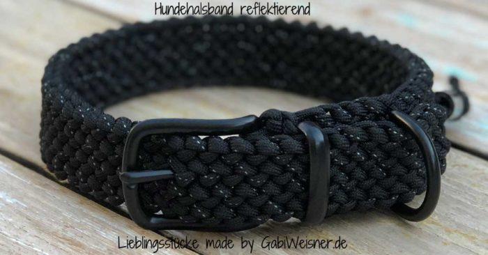 Reflektierendes Hundehalsband in Schwarz oder Hellblau