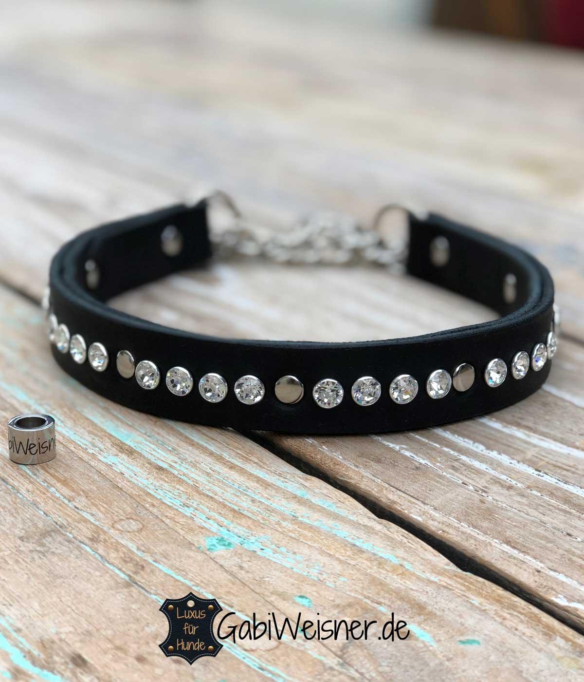 Hundehalsband Swarovski Elements auf Leder