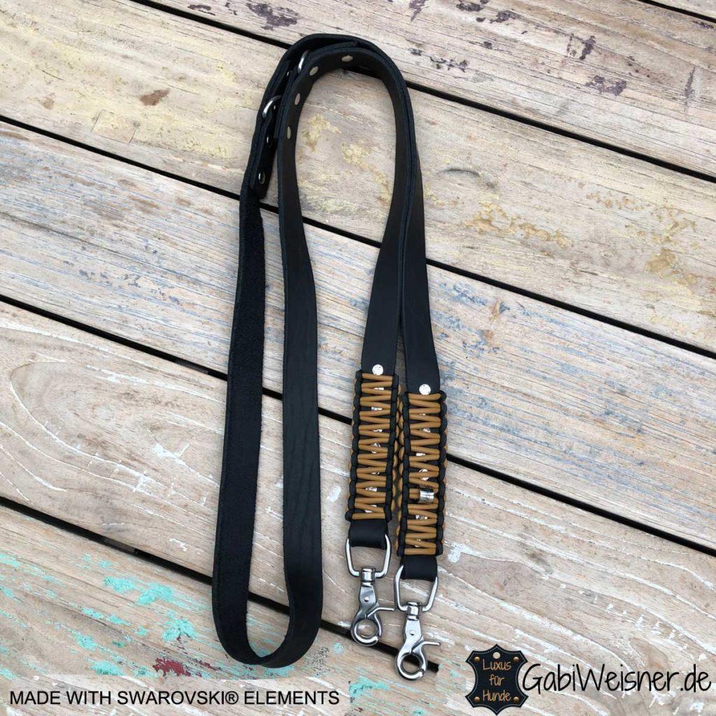 Hundeleine mit Swarovski Elements, Leder 25 mm breit, Edelstahl oder Messing Karabiner, Knotenmuster